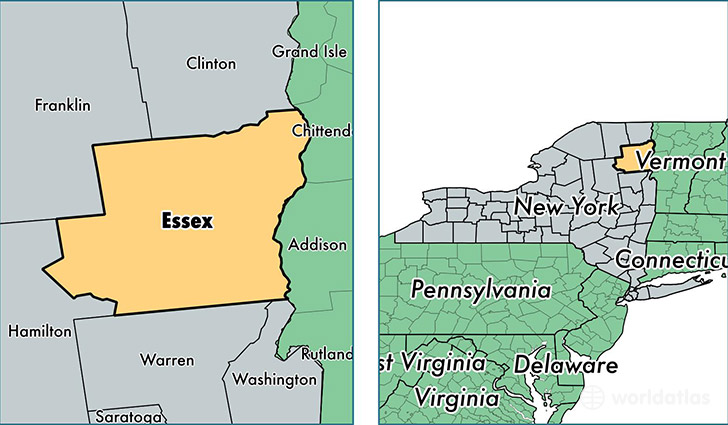 location of Essex county on a map