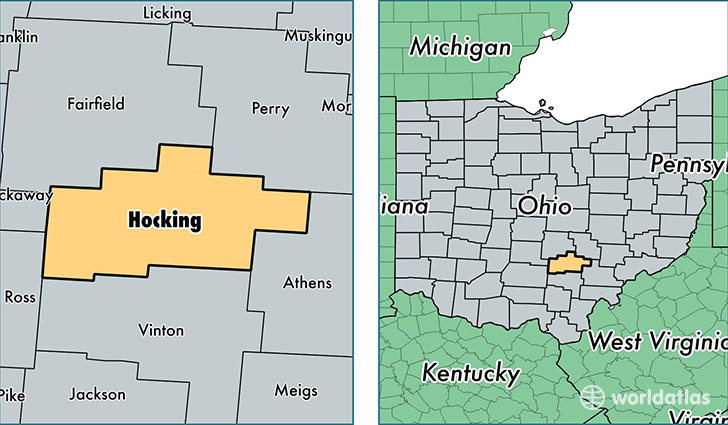 location of Hocking county on a map