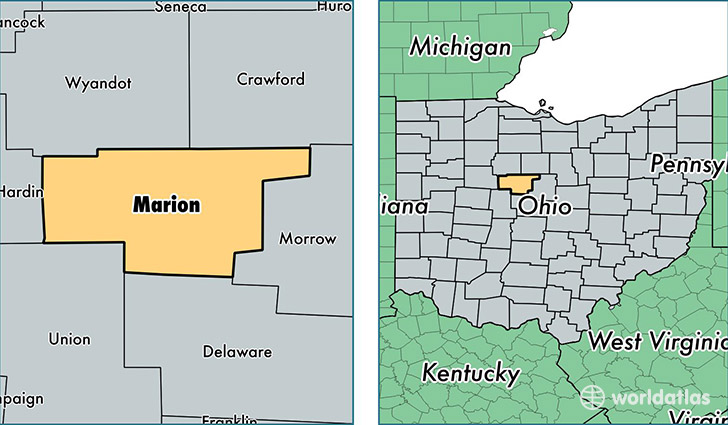 location of Marion county on a map