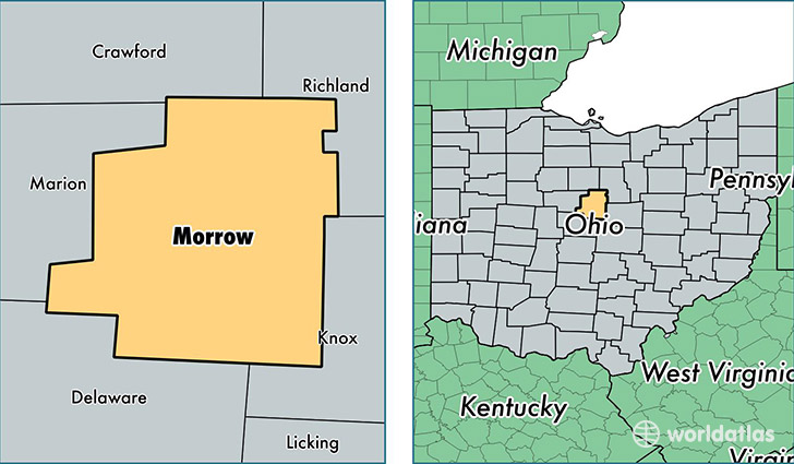 location of Morrow county on a map