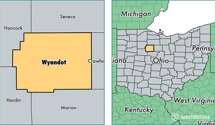 location of Wyandot county on a map