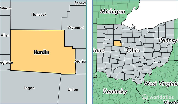 location of Hardin county on a map