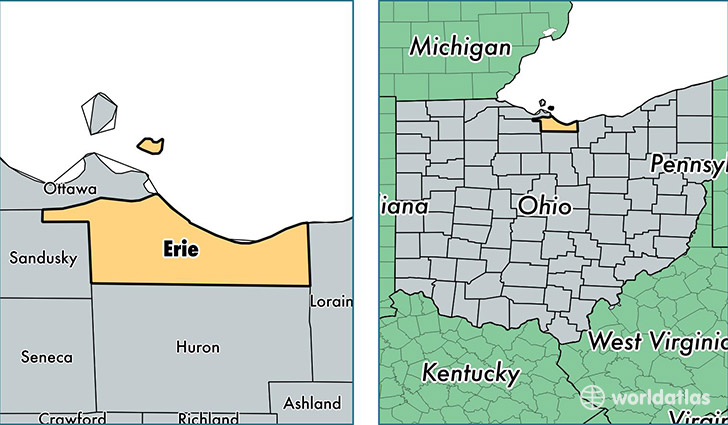 location of Erie county on a map
