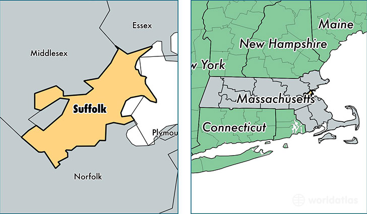 location of Suffolk county on a map
