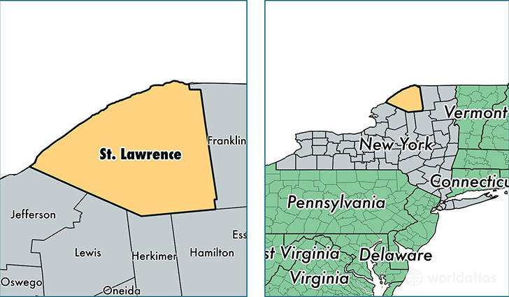 location of Saint Lawrence county on a map