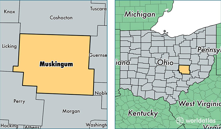 location of Muskingum county on a map