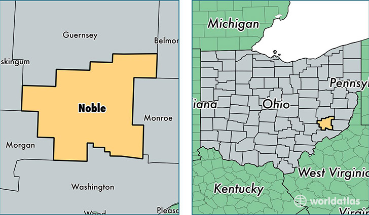 location of Noble county on a map
