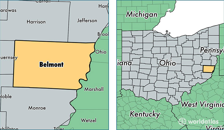 Belmont County Ohio Map Of Belmont County Oh Where Is Belmont