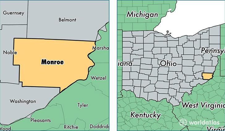 Monroe County Ohio Map Of Monroe County OH Where Is Monroe - Ohio on map