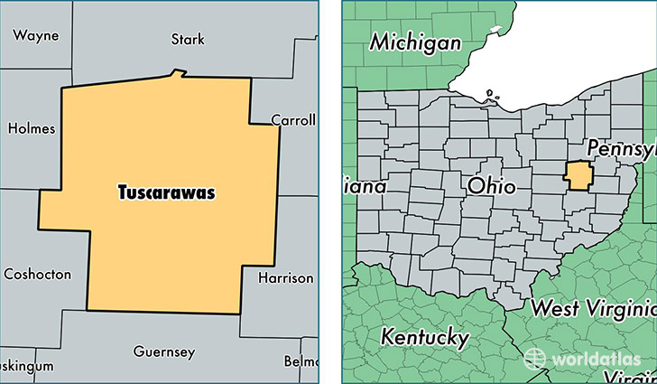location of Tuscarawas county on a map