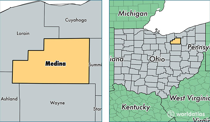 location of Medina county on a map