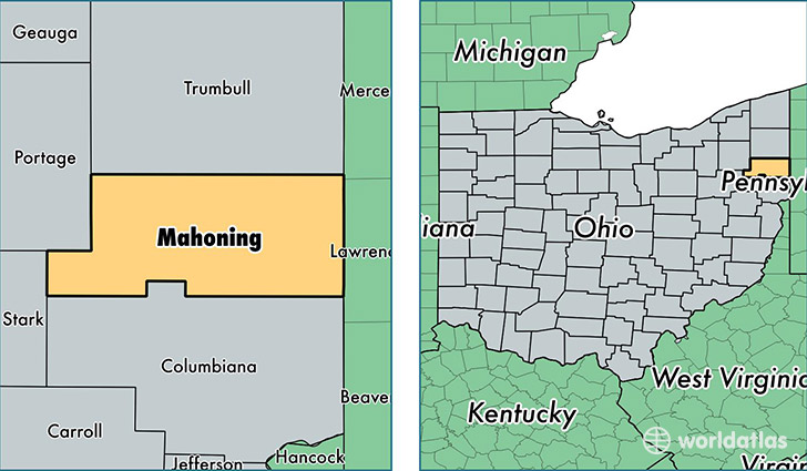 location of Mahoning county on a map