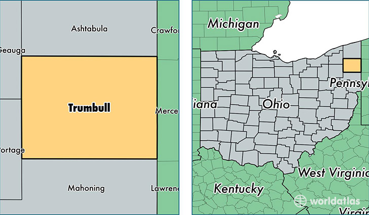 location of Trumbull county on a map