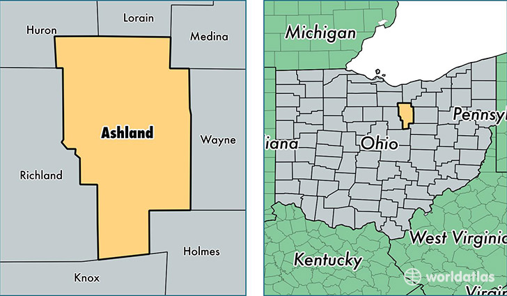Ashland County Ohio Map Of Ashland County Oh Where Is Ashland - Ohio-in-the-us-map
