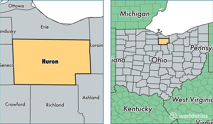 location of Huron county on a map