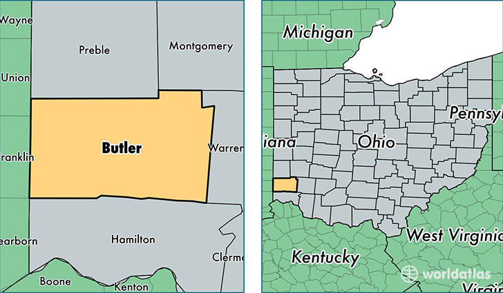 location of Butler county on a map