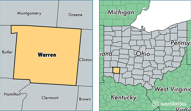 location of Warren county on a map