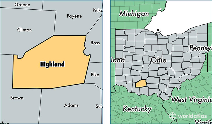 location of Highland county on a map