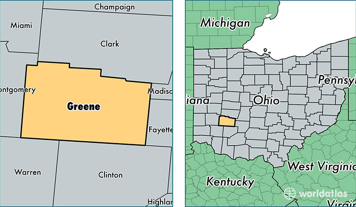 location of Greene county on a map