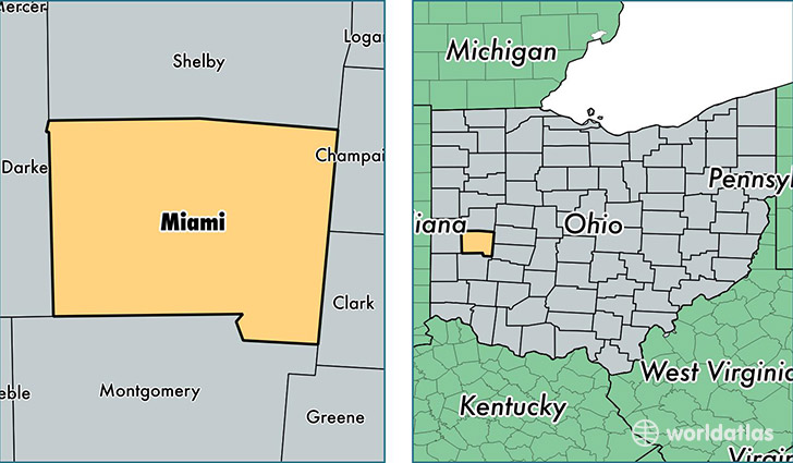 location of Miami county on a map