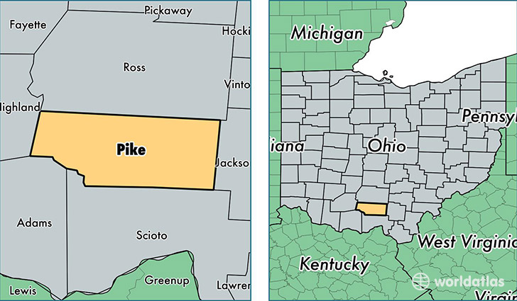 Pike County Ohio Map Of Pike County Oh Where Is Pike