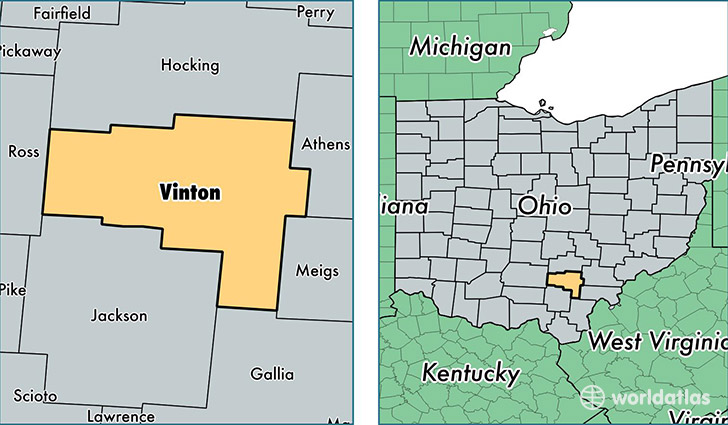 location of Vinton county on a map