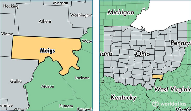 location of Meigs county on a map