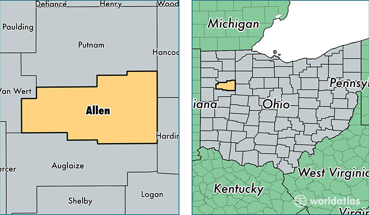 Allen County Ohio Map Of Allen County Oh Where Is