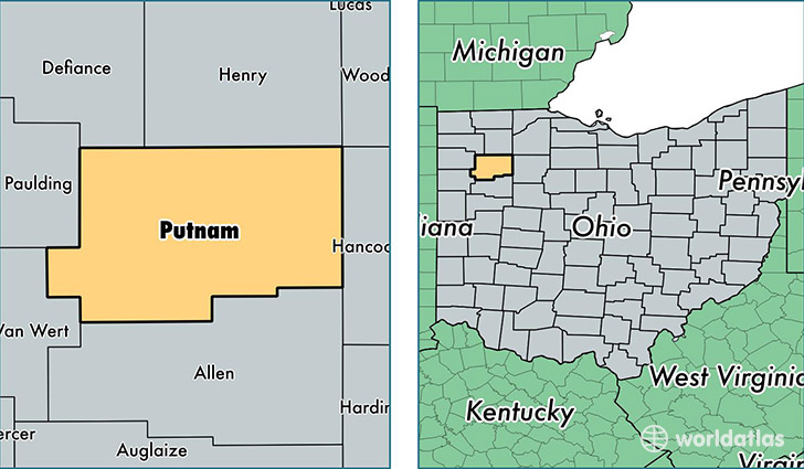 location of Putnam county on a map