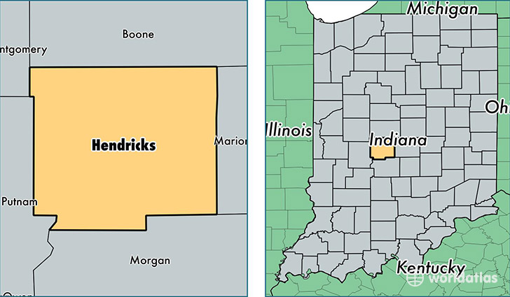 location of Hendricks county on a map
