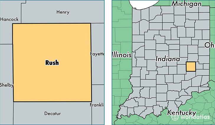 location of Rush county on a map
