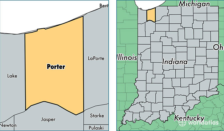 Porter County Indiana Map Of Porter County In Where Is Porter