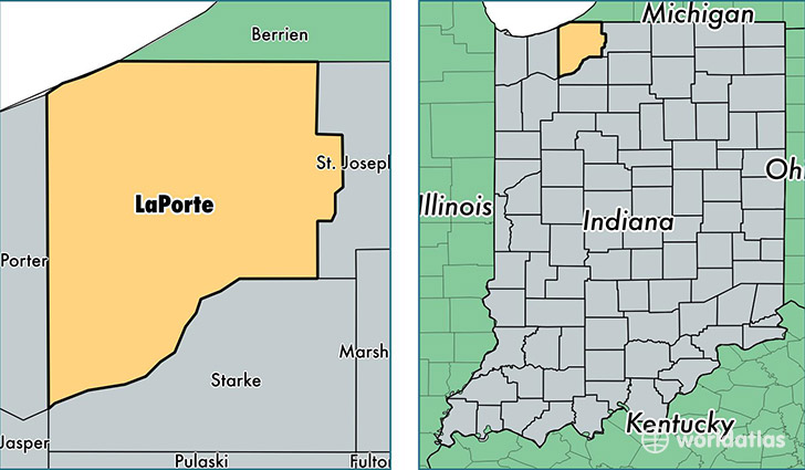 location of La Porte county on a map
