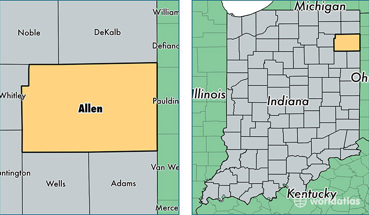 Allen County Indiana Map Of Allen County In Where Is Allen County
