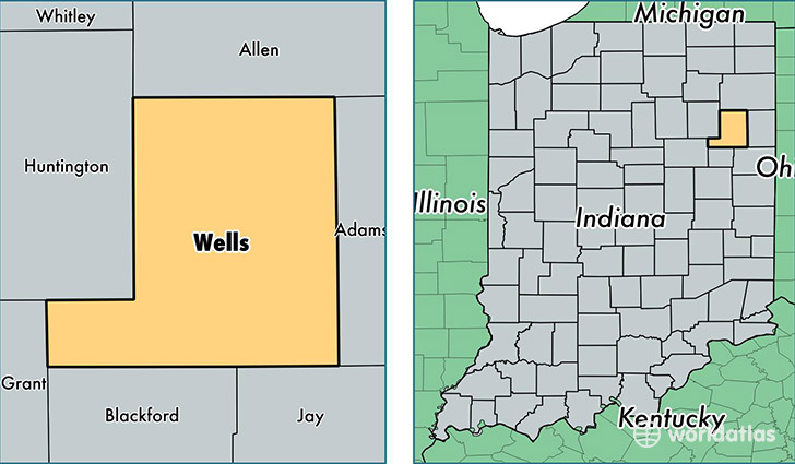 location of Wells county on a map