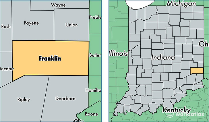 Franklin County Indiana Map Of Franklin County In Where Is