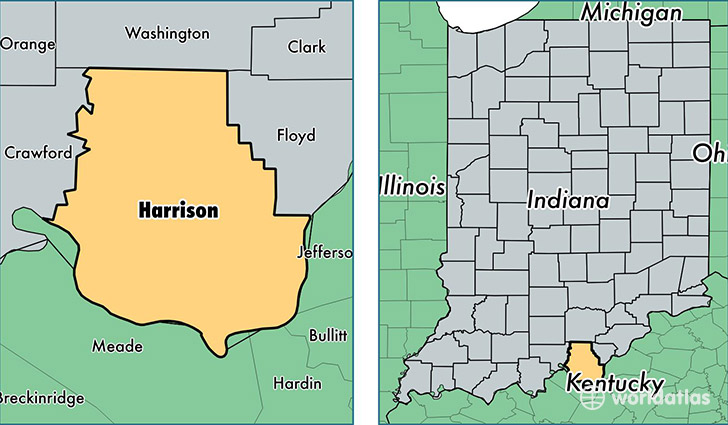 Harrison County Indiana Map Of Harrison County IN Where Is - Counties in indiana map