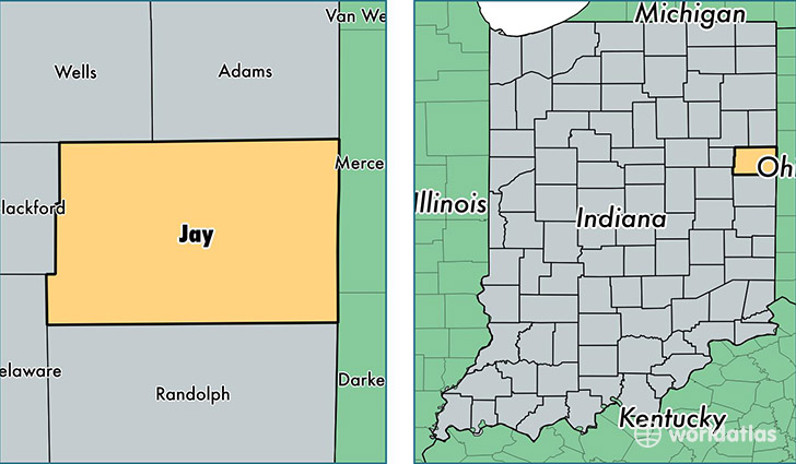 location of Jay county on a map