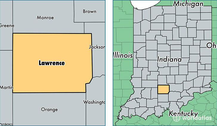 Lawrence County Indiana Map Of Lawrence County IN Where Is - Indiana on a us map