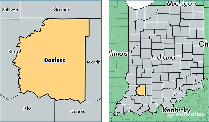 location of Daviess county on a map