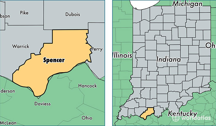location of Spencer county on a map