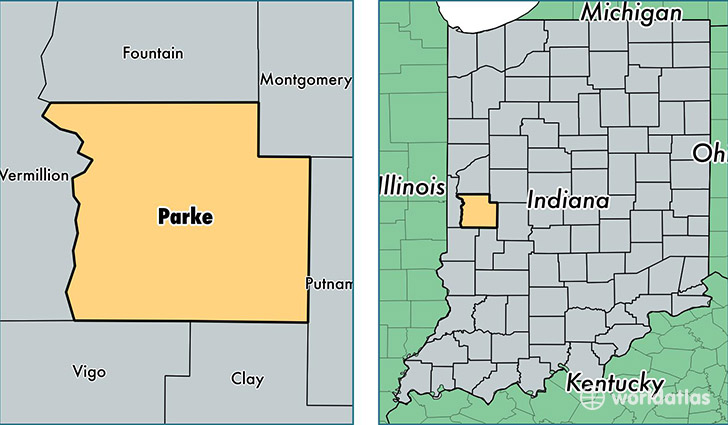 location of Parke county on a map