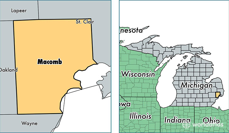 location of Macomb county on a map