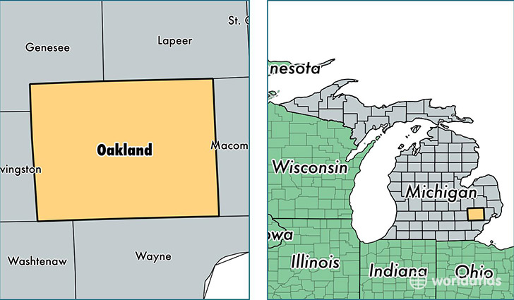location of Oakland county on a map