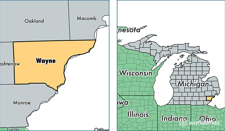 location of Wayne county on a map