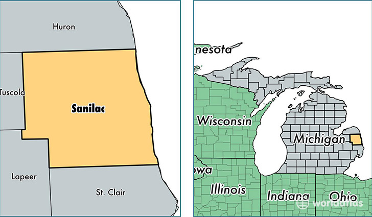 location of Sanilac county on a map