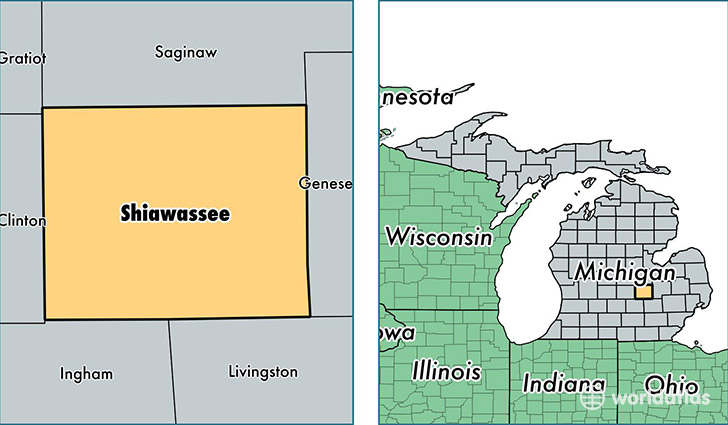 location of Shiawassee county on a map