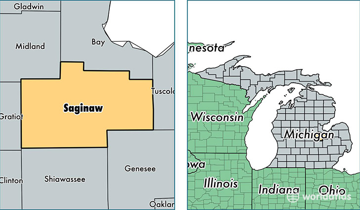 location of Saginaw county on a map