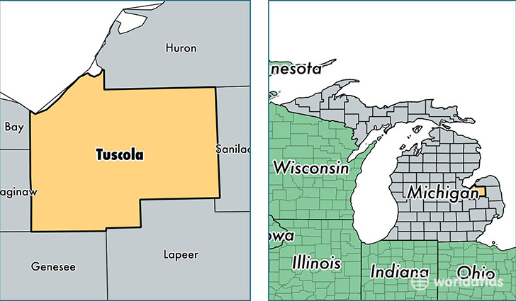 location of Tuscola county on a map