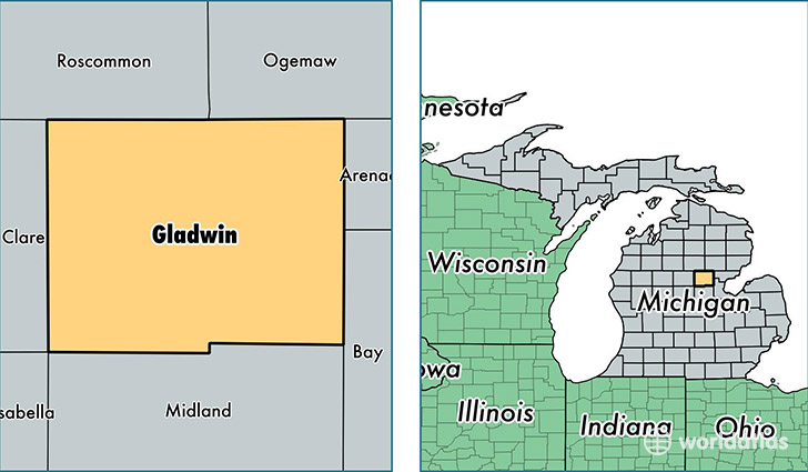 location of Gladwin county on a map